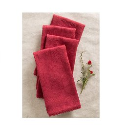 April Cornell Luxurious Cranberry Line Napkins, Set of 4