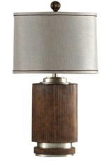 Style Craft Home Collection Ribbed Wood Finish Table Lamp