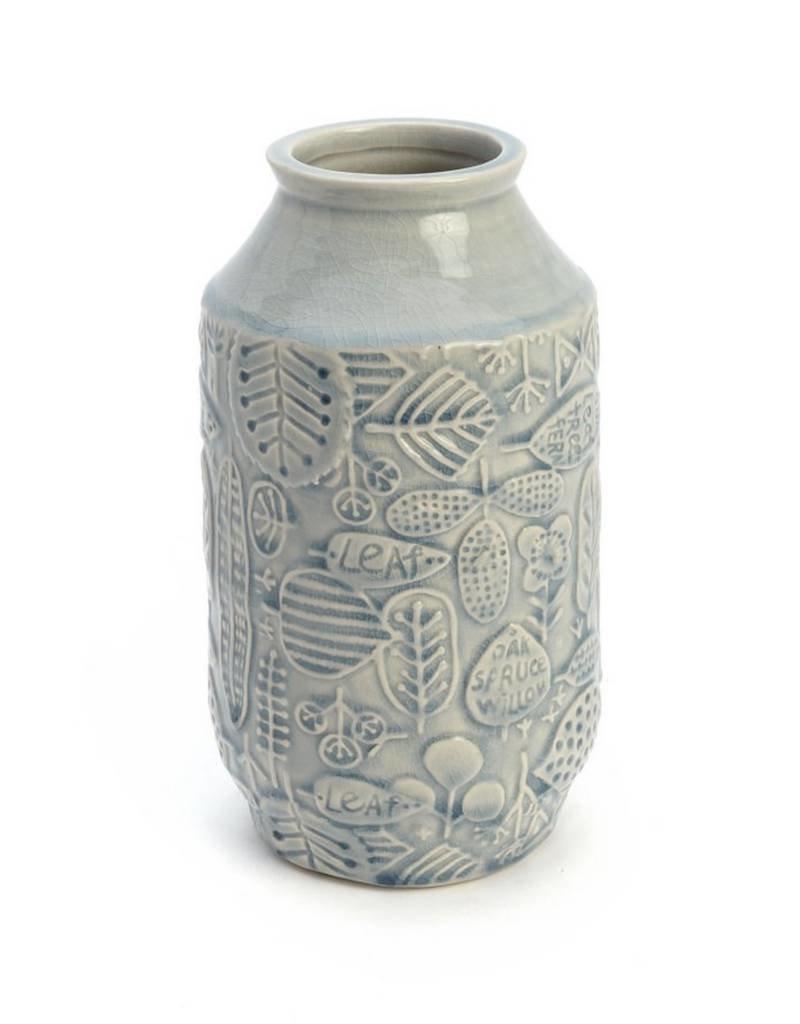 "ADV 10"" Blue Leaf Vase"