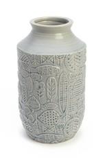"ADV 12"" Blue Leaf Vase"