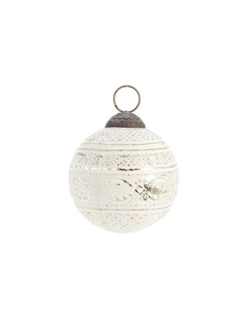 ADV White Embroidered Christmas Ball Ornament