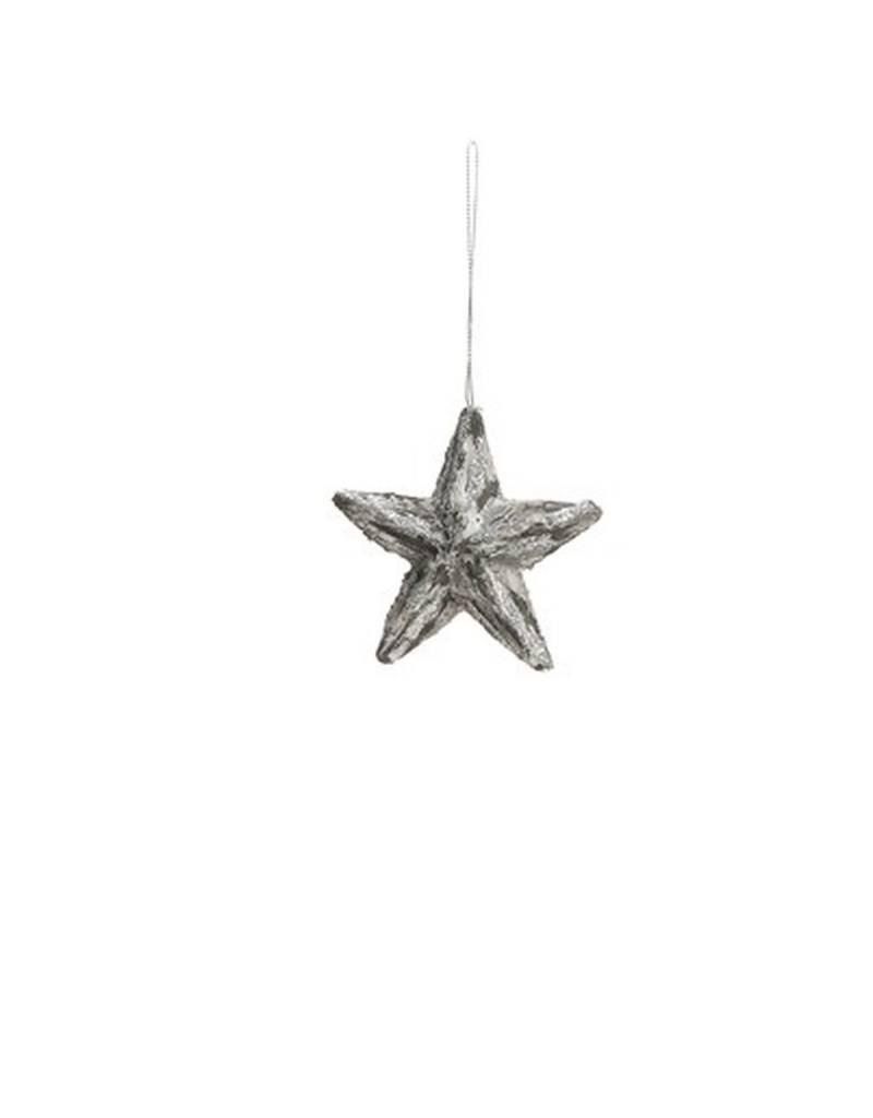 ADV Christmas Flock Silver Star Ornament
