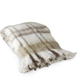 Tag ltd Woodland Plaid Mohair Throw Brown