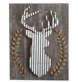 Creative Co-op Wood & Corrugated Metal Deer Wall Decor