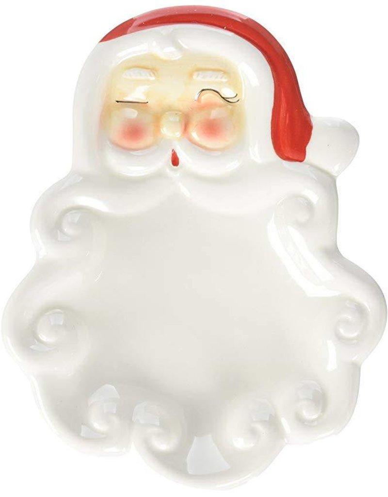 Creative Co-op Ceramic Vintage Santa Dish