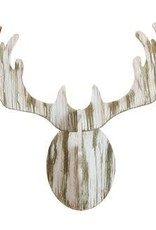 Creative Co-op Distressed White Wooden Deer Wall Decor