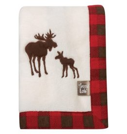 Trend Labs Northwoods Moose Framed Fleece Blanket Buffalo Check