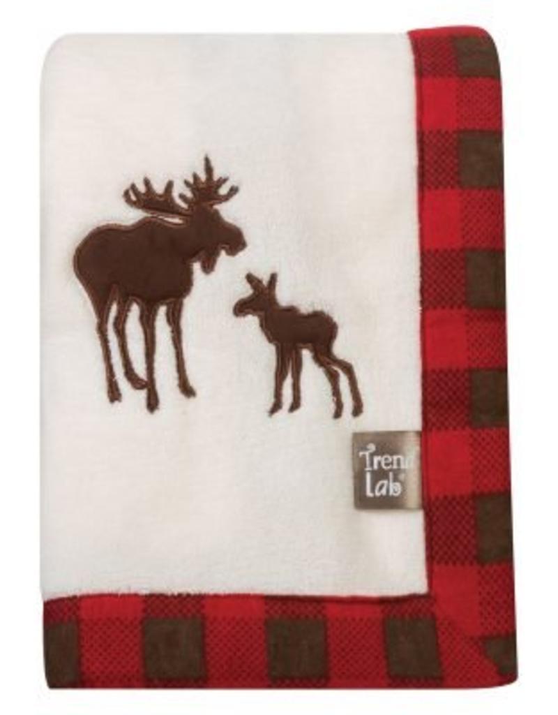 Trend Labs Northwoods Moose Framed Fleece Blanket Buffalo Check