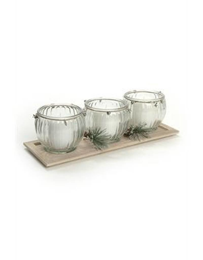 The Pine Centre Christmas Candle Set with Tray