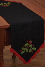 Park Design Yuletide Holly Felt Tablerunner 10x35
