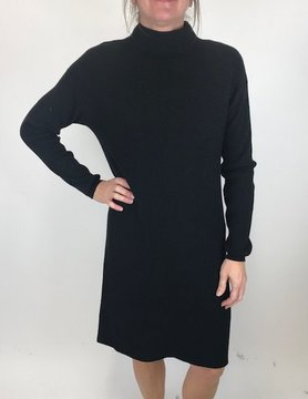 M Made In Italy M Made In Italy Ribbed Swtr Dress Black