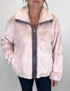 Mystree Mystree Pnt Zip Fur Jacket Blush