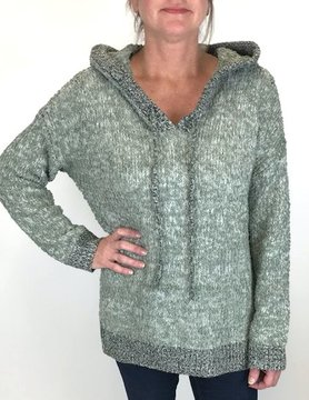 Mystree Mystree Popcrn Hooded Hi Lo Sweater Dk Sage