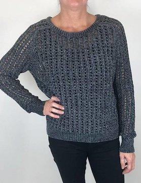 Lilla P Lilla P Open Stitch Sweater Carbon