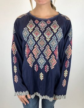 Johnny Was Johnny Was Kikumi Blouse Blue Gravel C18318-8
