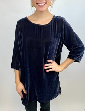 CUT LOOSE Cutloose 3/4 Slv Long Tee Tunic Metal