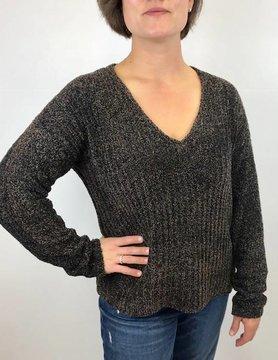 Lilla P Lilla P Vnk Sweater Blk/Tan