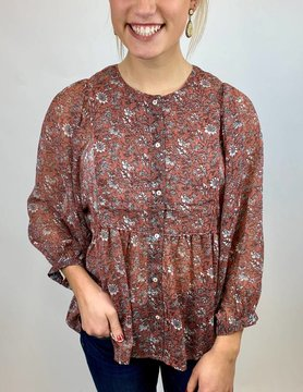 Lucky BRAND Lucky Floral Print Peasant Pink Mlti
