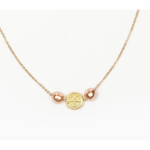 My Saint My Hero My Saint My Hero Blessings and Joy Necklace Rose Gold/Gold