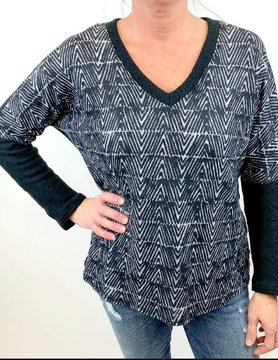 Nally & Millie Nally & Millie Geometric Top Black