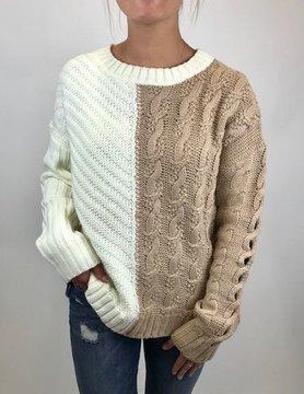 Hem & Thread Hem & Thread Cable Knit Asym Taupe/Ivory