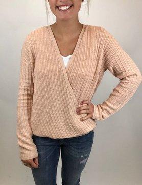 Hem & Thread Hem & Thread Front Wrap L/S Sweater Blush