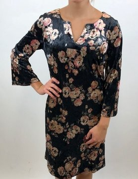 ARYEH Aryeh Split Neck Shift Black Floral