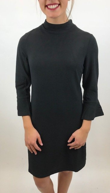 Aryeh Mock Neck Shift Dress Black The Happy Solthe Rugged Sun