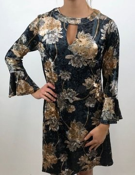 ARYEH Aryeh Velvet Floral Keyhole Dress