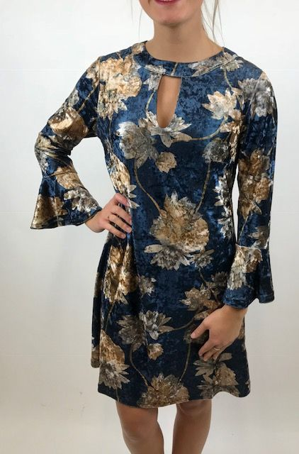 0fcafe46606 Aryeh Velvet Floral Keyhole Dress - The Happy Sol The Rugged Sun