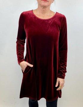 ARYEH Aryeh Velvet Swing Dress Wine