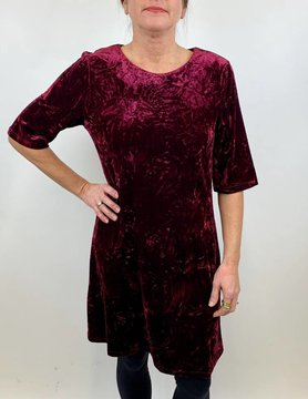 ARYEH Aryeh Elbow Sleeve Velvet Dress Wine