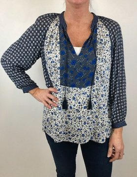 Lucky BRAND Lucky Border Print Peasant Top Blue Mlti