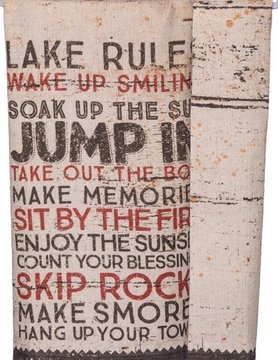 PRIMITIVES BY KATHY Primitives by Kathy Dish Towel- Lake Rules 31014