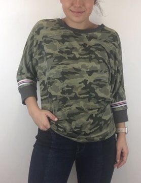 Hem & Thread Hem & Thread Camo Print Stripe Tee Olive