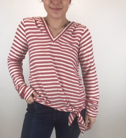 Hem & Thread Hem & Thread Frint Tie Hooded Stripe Bry/Wht 6345N