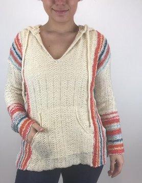 Hem & Thread Hem & Thread Mlti Stripe Hood Sweater Crm/Mlt