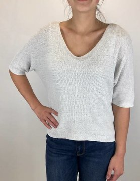 M Made In Italy M Made in Italy Knitted 3/4 Slv Sweater Wht