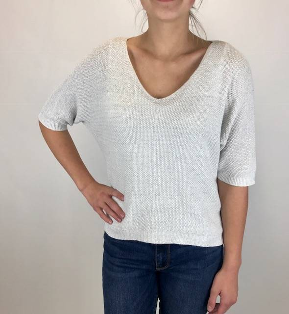 M Made In Italy M Made in Italy Knitted 3/4 Slv Sweater Wht 33/26110K