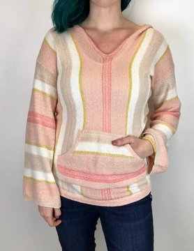 Hem & Thread Hem & Thread Multi Stripe Hood Swtr Pink