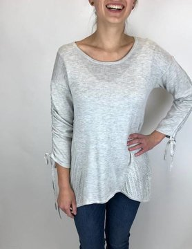 Mystree Mystree Pointelle Back Sweater Grey