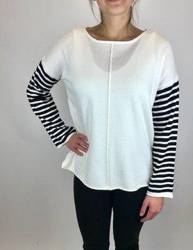 Mystree Mystree Oversize Stripe Pull Over White/Blk