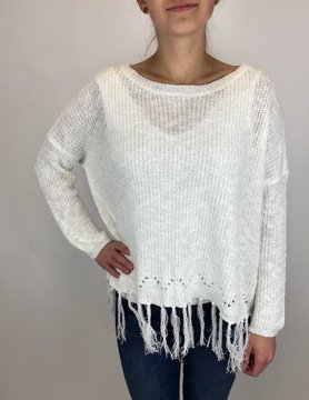 Mystree Mystree Fringed Bottom P/O Sweater Off White