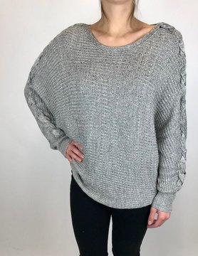 Mystree Mystree Dolman Sweater Lace Up Charcoal