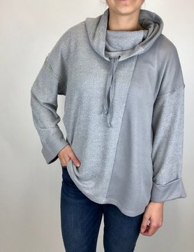 Mystree Mystree Boucle Knit Funnel Neck Grey