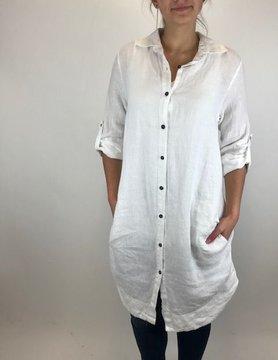 suzy d Suzy D Linen Long Shirt White