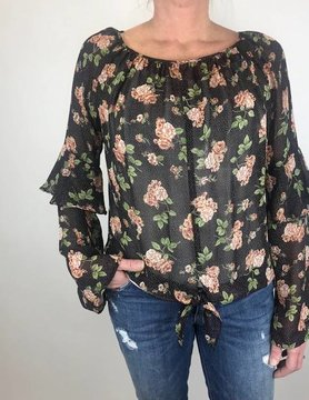 RED HAUTE Red Haute Floral Blouse Black