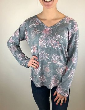 Nally & Millie Nally & Millie Floral V Neck