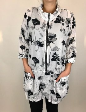 COMFY Comfy Black Flower Tunic Zip