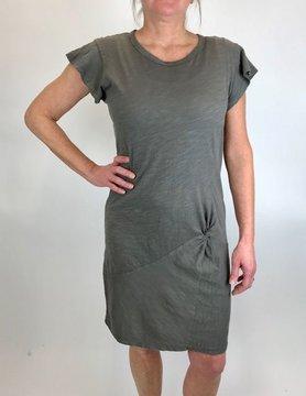 Mod-o-doc Mododoc Flutter Sleeve Asym Twist Dress Stone
